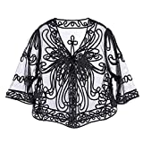 iiniim Women's Casual Lace Crochet Cardigan 3 4 Sleeve Sheer Cover Up Jacket Plus Size Black&White One Size
