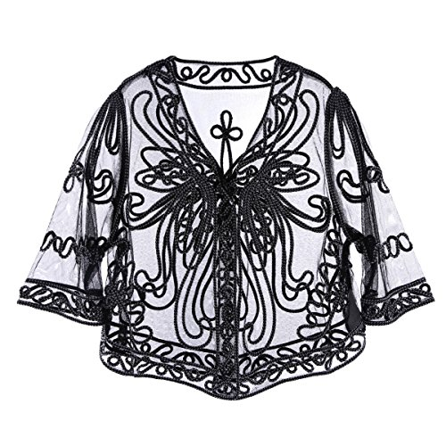 iiniim Women's Casual Lace Crochet Cardigan 3 4 Sleeve Sheer Cover Up Jacket Plus Size Black&White One -