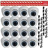 VideoSecu 16 Pack Day Night IR Outdoor CCD Security Cameras Vandal Proof 480TVL 3.6mm Wide Angle Lens 20 Infrared LEDs for CCTV DVR Home with Free Power Supplies and Security Warning Decals CPF