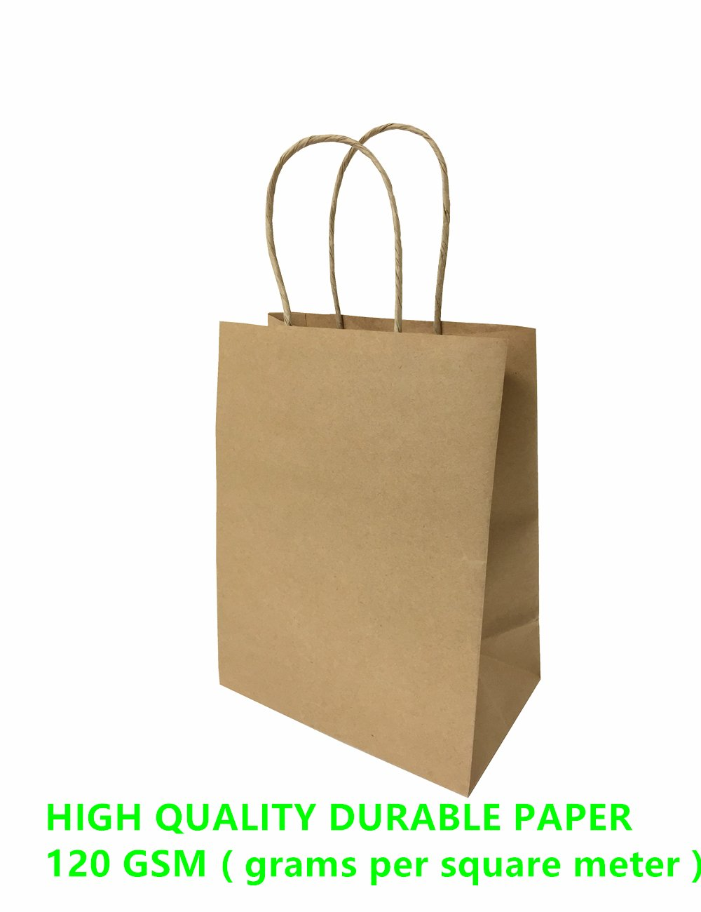 Mistmo 5.25''X3.25''X8''-200 Pc Premium Paper Bag (120GSM), Gift, Shopping, Merchandise, Grocery, Recycle Kraft Handle Bags, Color: BROWN