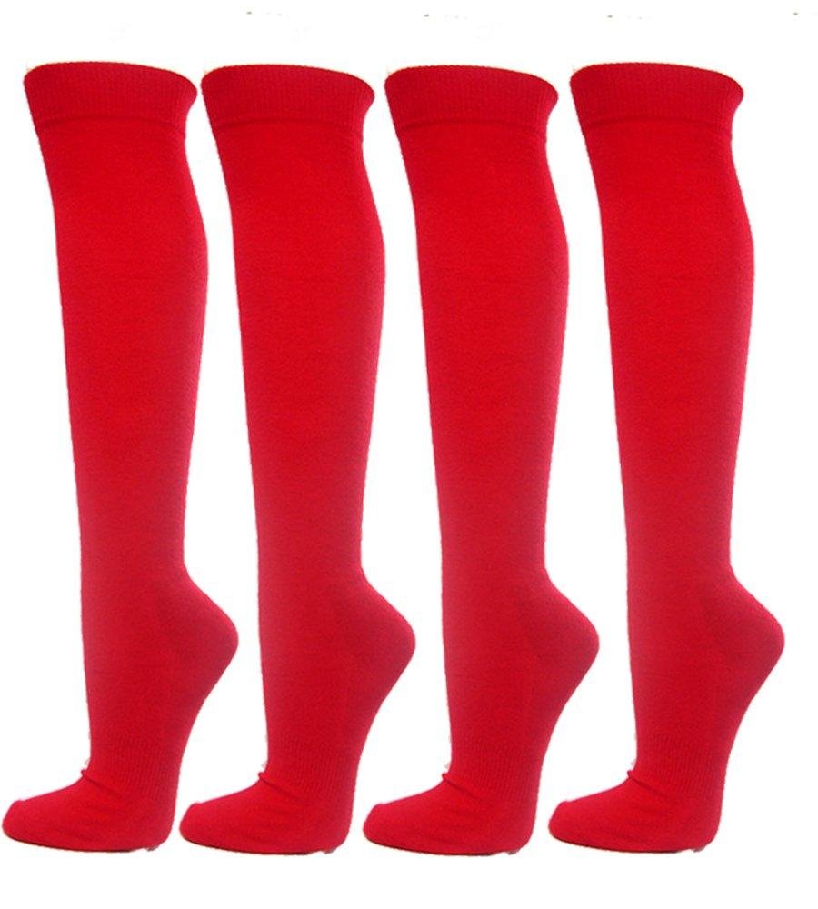 4PAIRS Pack Knee High Premium Quality Sports Athletic Baseball Softball Socks