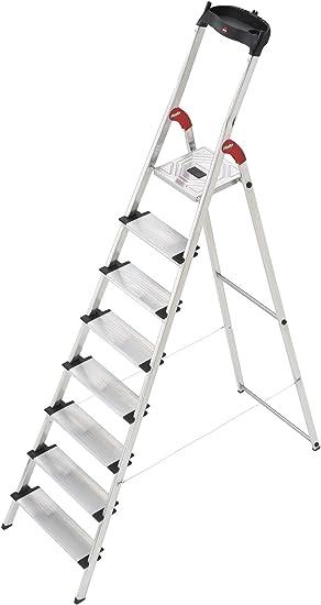 Hailo XXL - Escalera doméstica de Aluminio, peldaños Extra Anchos, Bandeja Multifuncional, Gancho para Cubo y Pinza para Cable (8 peldaños): Amazon.es: Hogar