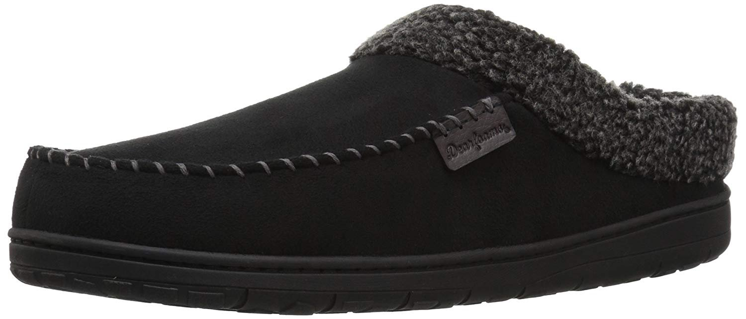 Dearfoams Men's Microsuede Clog Slipper – Padded Slip-ONS with Memory Foam Insole, Can be Worn Indoors and Outdoors
