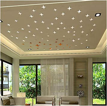 10pcs 3D Mirror Wall Sticker for Ceiling Living Room Bedroom Decals Decor Silver