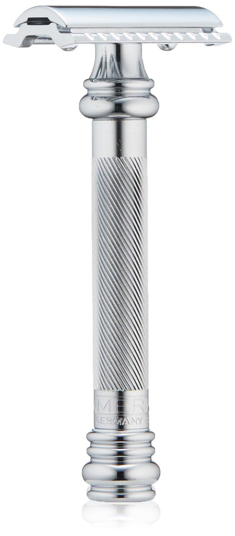Merkur Heavy Duty Long Barber Pole Safety Razor, Chrome