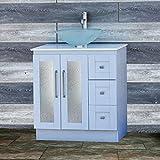 Elimax's Solid Wood 30'' Bathroom White Oak Vanity Cabinet White Quartz Top Vessel sink B3021WL/12F