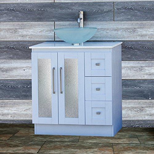 Elimax's Solid Wood 30'' Bathroom White Oak Vanity Cabinet White Quartz Top Vessel sink B3021WL/12F by ELIMAX'S