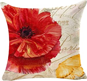 ITFRO Red Yellow Poppy Flower Sofa Decorative Beige Cotton Linen Throw Pillow Case Cushion Cover Square 18 inches…