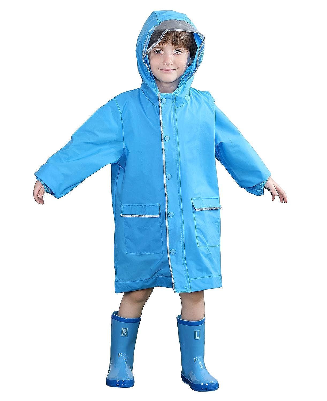 CAMLAKEE Kids Raincoat Waterproof Boys Girls Rain Poncho Backpack Cover Rain Jacket with Reflective
