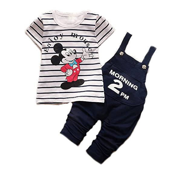 b75f0291a Bold N Elegant Mickey Mouse Cute Cartoon Dungaree Baby Boy Girl Clothing  Jumpsuit Half Sleeve T-Shirt with Dungaree for 0-2 Year Kids: Amazon.in:  Clothing & ...