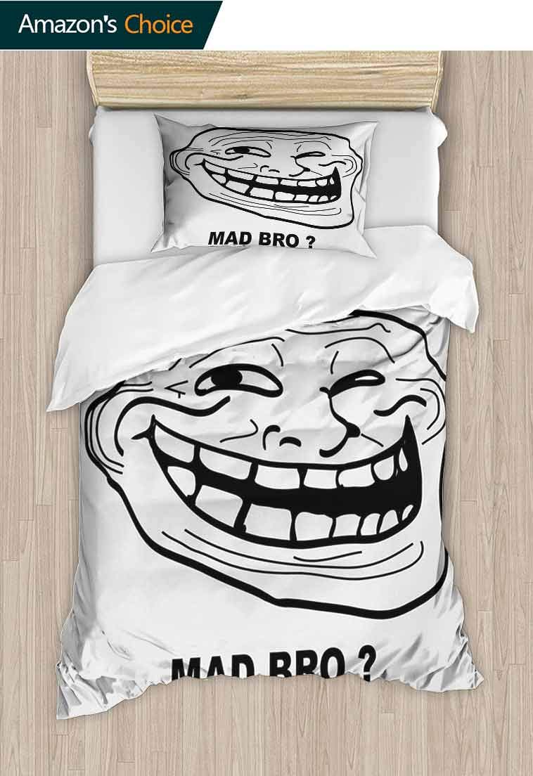 Humor Custom Made Duvet cover and Pillowcase Set, Cartoon Style Troll Face Guy for Annoying Popular Artful Internet Meme Design, Cool 3D Outer Space Bedding Digital Print - 2 Piece, 79 W x 90 L Inches