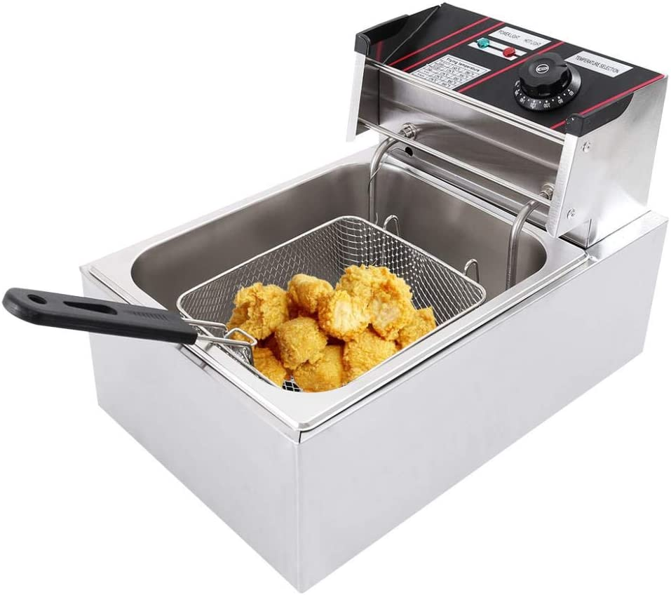 Commercial Electric Deep Fryer With Oil Filtration - 2500W 6L Single Tank - Countertop Kitchen Frying Machine with Removable Basket - Lid & Temperature Control - For French Fries Fish Turkey Chips Restaurant Home (Single Tank)