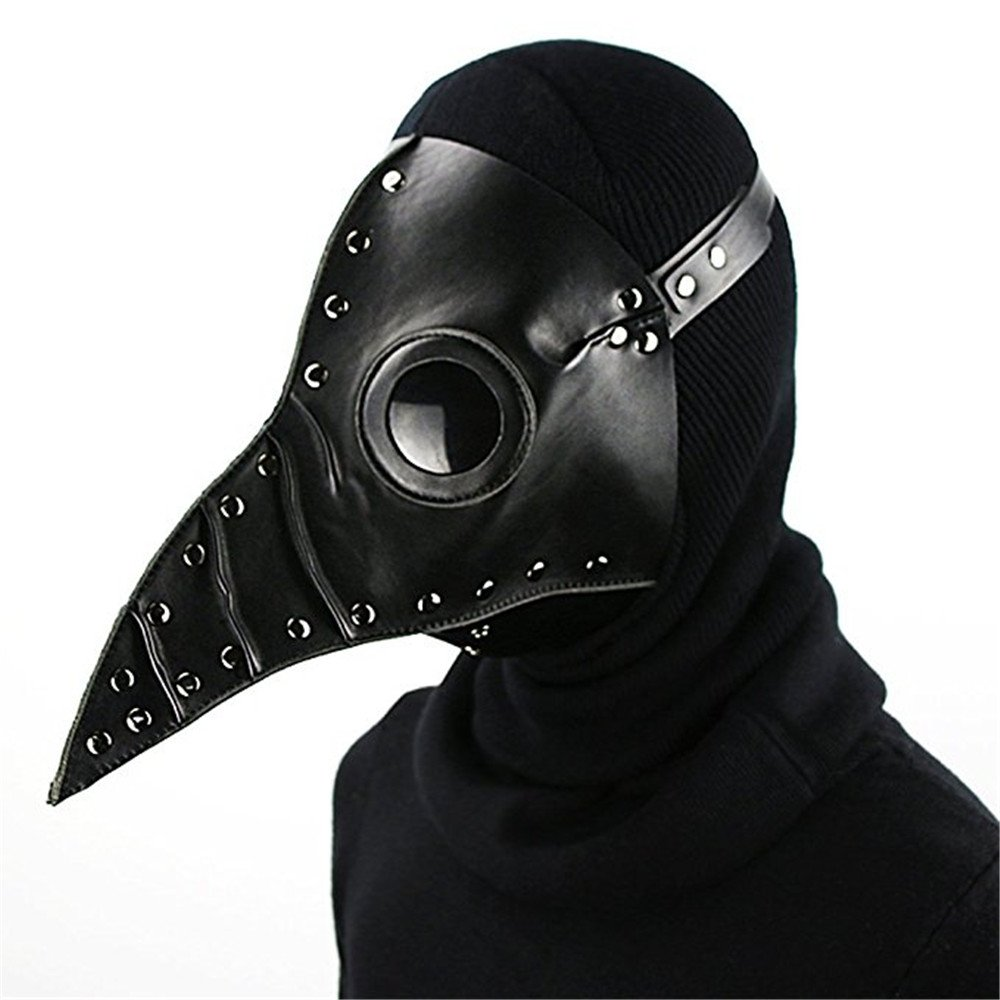 Katoot@ Halloween Party Mask Plague Doctor Cosplay Steampunk PU Leather Mask Black