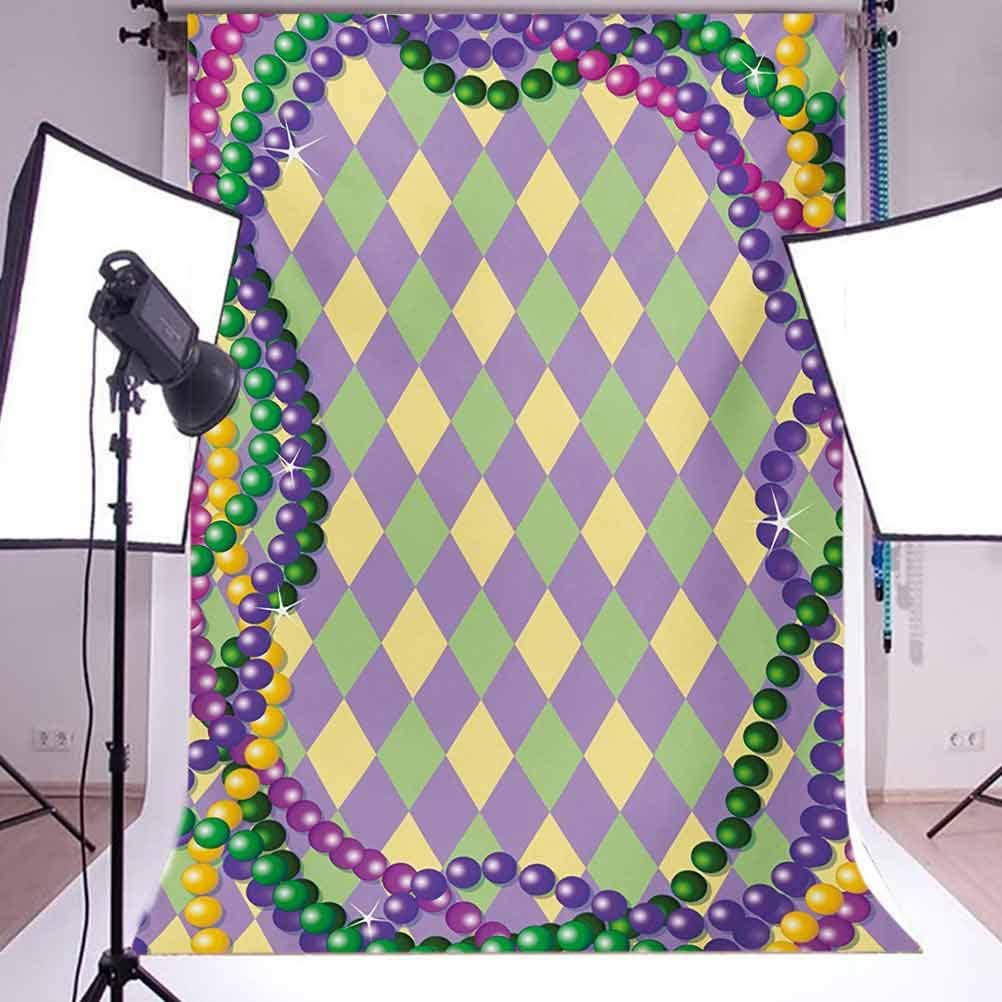 Mardi Gras Celebration Beads in Vibrant Graphic Style on Diamond Line Pattern Background for Baby Shower Bridal Wedding Studio Photography Pictures Multicolor Mardi Gras 8x10 FT Photography Backdrop