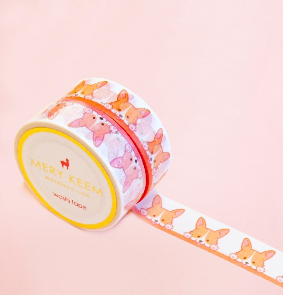 Cute Welsh Corgi Washi Tape for Planning • Scrapbooking • Arts Crafts • Office • Party Supplies • Gift Wrapping • Colorful Decorative • Masking Tapes • DIY
