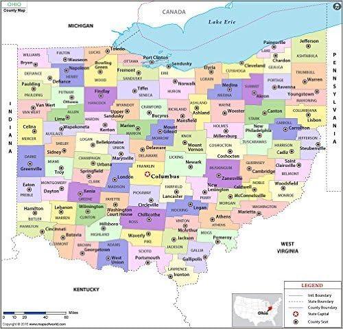 Amazon.com : Ohio County Map - Laminated (36