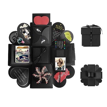 Tumao Caja de Regalo Creative Explosion Love Memory DIY Álbum de Fotos cumpleaños, una Sorpresa Sobre el Amor, Abierto con 14144.7 , Negro. ...