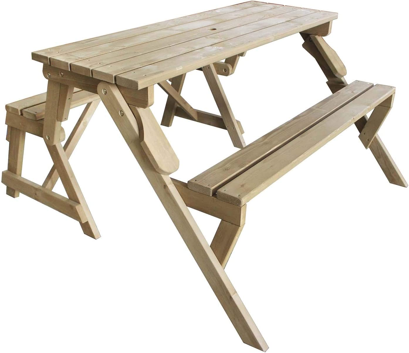 - AIRWAVE Bennett Wooden 2-in-1 Convertible Folding Picnic Table