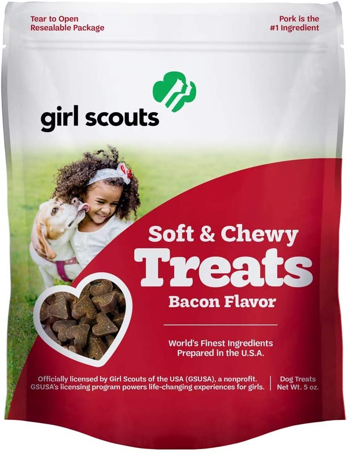 Girl Scouts Soft & Chewy Dog Treats - Made in USA with Real Pork - Bacon, Lamb, Chicken Oh My Puppy Training Treats for All Dog Breeds - Rawhide Free Gluten & Soy Free Chewy Treats - 5 oz