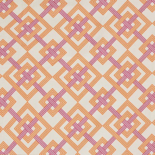 Tiger Lily Orange Pink Neutral Geometric Lattice Print Upholstery Fabric by The Yard (Tiger Lily Drapes)