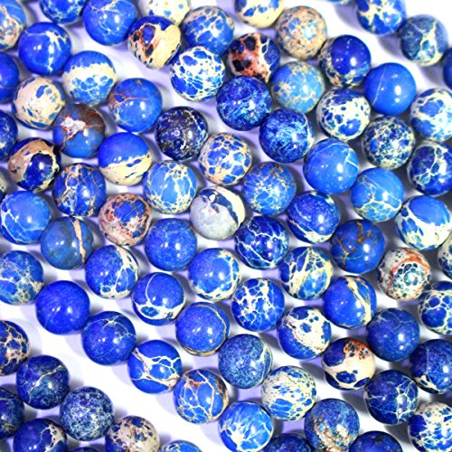 Natural Genuine Sea Sediment Jasper Round Gemstone Jewelry Making Loose Beads Lapis Blue 6mm