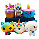 YOAUSHY 6 Pack Squishies Toys Set Slow Rising Jumbo Unicorn Cake Donut Cat Squishy for Kids Christmas Birthday Gift,Party Favor Treasure Box Classroom Prizes