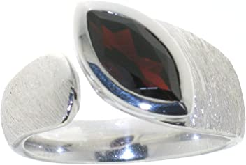 "Luxuriöser Sterlingsilberring mit Granat 12x6 mm, rhodiniert, Serie""Ocean"""