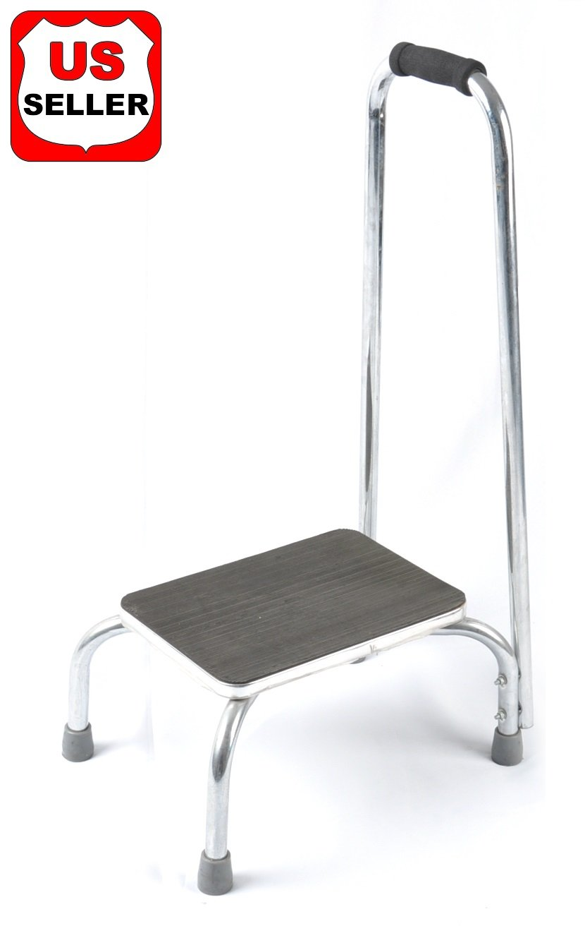 Benovate Foot Step Stool with Support Handle Grab Bar Bathroom Safety, Kitchen Stool, High Bed Step Stool - Silver and Black by Benovate