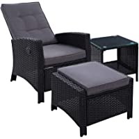 Gardeon 3pc Outdoor Table and Chair Set Sun Lounge Recliner Setting Wicker Garden Patio Furniture with Ottman