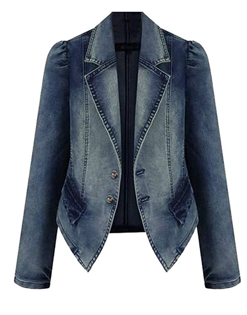 bluee Fssatung Womens Stretch Coat Plus Size Blazer Jean Faux Faded Denim Jackets