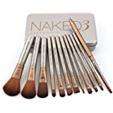 Naked3 Makeup Brush Set - 12 Pc Premium Makeup Cosmetics Foundation Blending Blush Eyeliner Face Powder Lip Brush