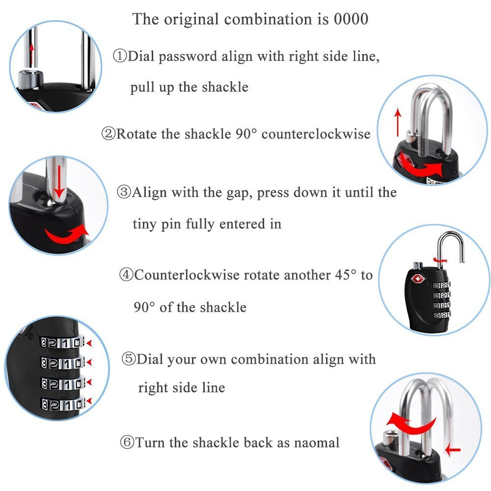YAHEY TSA Luggage Lock,4 Digit Combination locks for School, Employee, Gym & Sports Locker, Case, Toolbox, Baggage, Suitcases & Backpacks, Hasp Cabinet & Storage - Black and 2 Pack