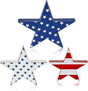 Hicarer 3 Pieces Wooden Independence Day Star Signs Tiered Tray Decor Rustic Wooden Sign Pentagram Wooden Decors for Home, Fourth of July Party, Independence Day Decor (Star Pattern)
