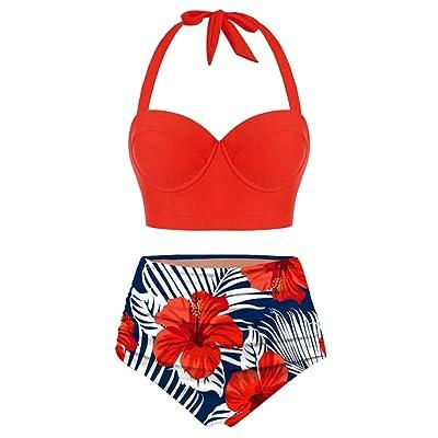 Ghazzi Women Swimsuits Two Pieces Push-Up Padd Overlay Sunflower Print Bikini Stripe Bathing Suits Swimwear Beachwear Set at Women's Clothing store
