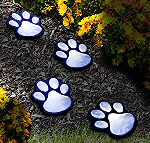 "NICE 4 solar dog animal paw print Lights garden lantern LED path 3"" light lamp"