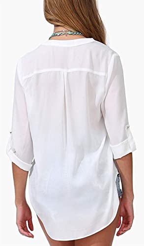 Summer Ladies Long Shirt Casual Blusa De Gasa Suelta V Fashion ...