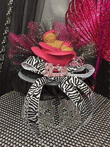- Fuchsia Zebra Ethnic Girl Baby Shower Cake Topper Centerpiece
