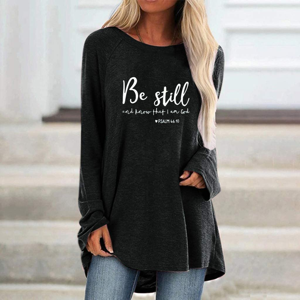 Eoeth Blouse Shirts for Women Fashion Plus Size Print Round Neck Long Sleeved Long T-Shirt Blouse