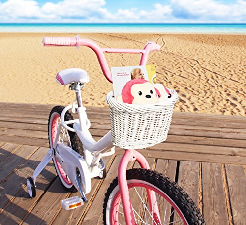 Colorbasket 01495 Kid's Front Handlebar Wicker Bike Basket, White