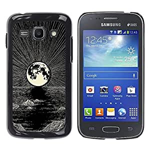 Ihec Tech Luna Art Pen Noche Negro océano blanco / Funda Case back Cover guard / for Samsung Galaxy Ace 3