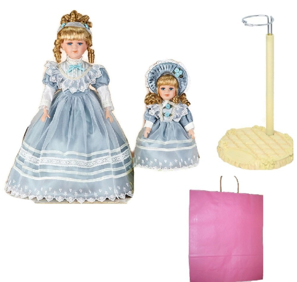 Mother and Daughter Doll, Stand and Gift Bag