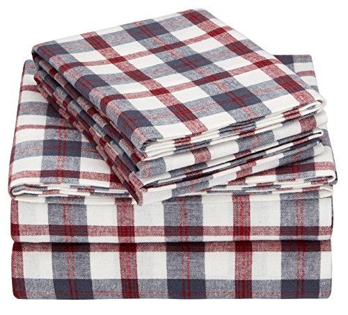 Pinzon 160 Gram Plaid Flannel Sheet Set - Queen, Red/Grey Plaid - PZ-PLFLAN-RG-QN