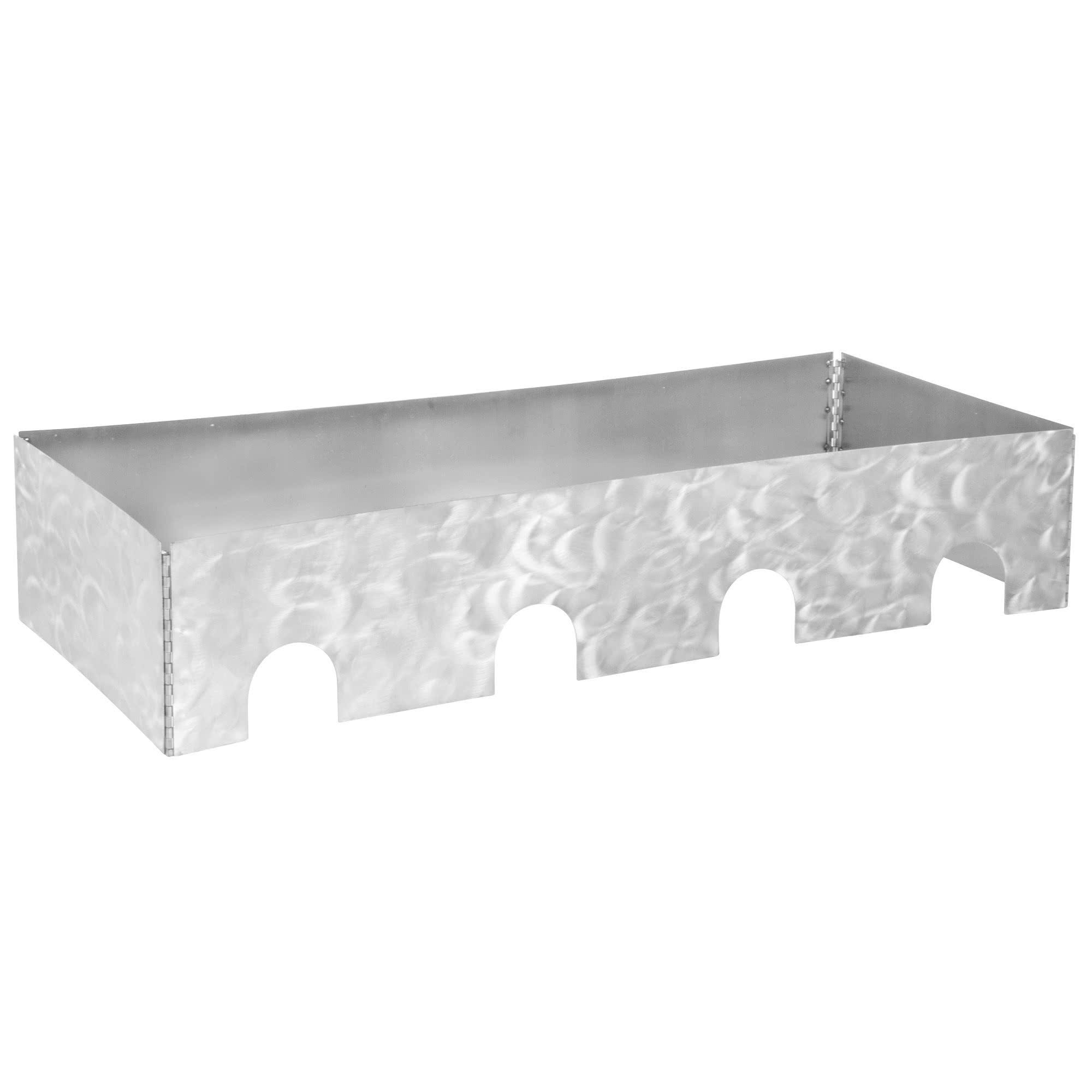 TableTop king Caterware CW604RSS 4-Well Collapsible 16 Gauge Random Swirl Stainless Steel Server - 51 1/2'' x 20 1/2'' x 10''