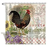 CafePress French Rooster Crowing Vintage Country Shower Curt Decorative Fabric Shower Curtain (69''x70'')