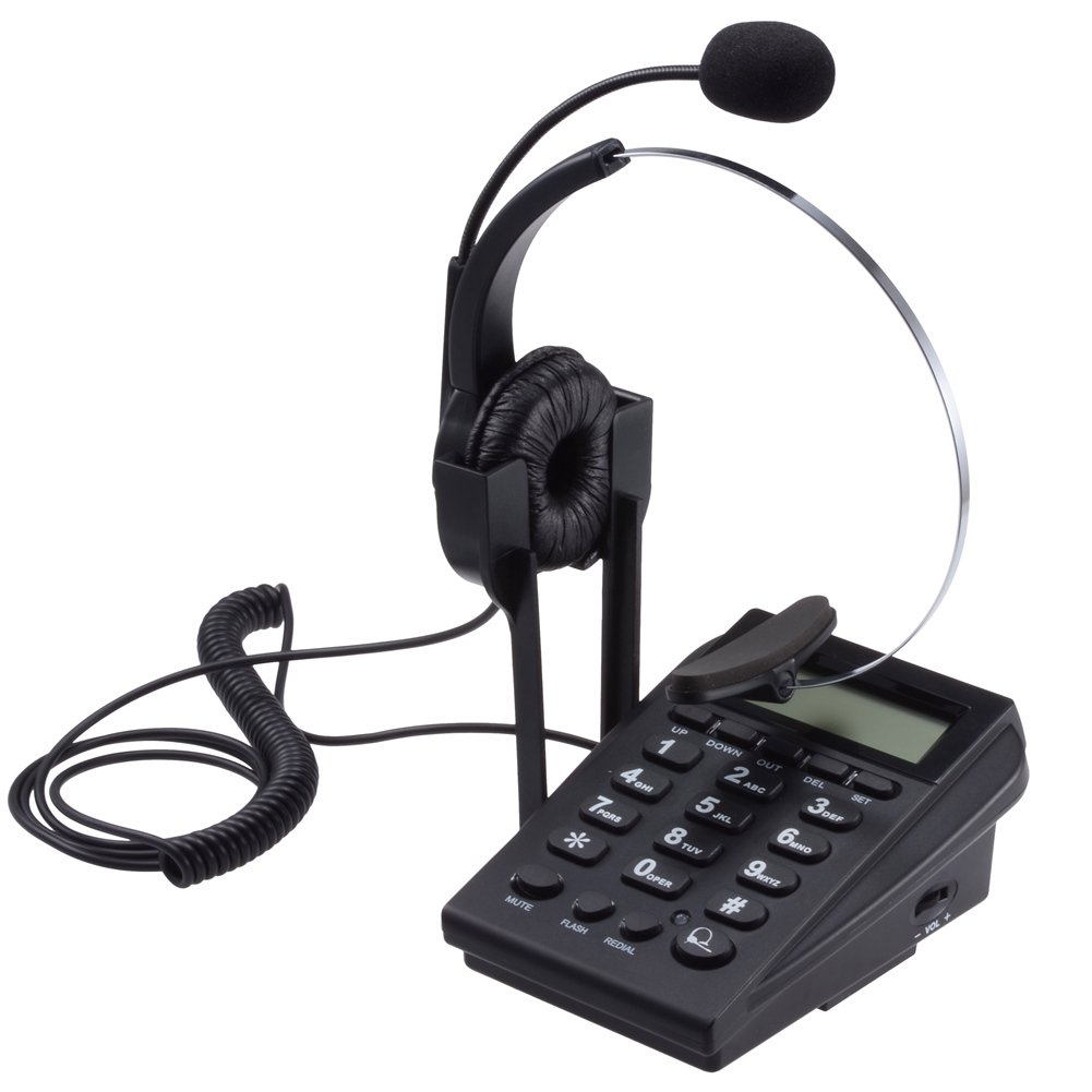 PChero Corded Telephone Noise Cancellation Monaural Headset & Dialpad Call Center Office Business Home by PChero
