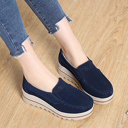 Shoes Loafers Ladies for Platform Blue Top PINGYE Wedge Suede Slip Moccasins Sneakers On Wide Low Women Comfort OnqXT