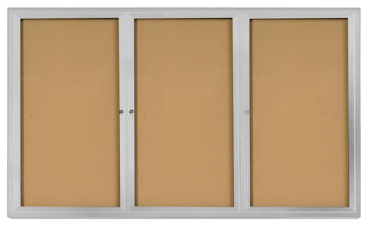 72'' x 48'' 3-Door Enclosed Bulletin Board for Indoor Use, 6' x 4' Cork Tack board with Z-bar Wall-mounting Bracket, Silver Aluminum Frame