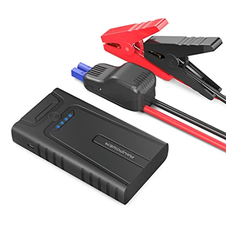 RAVPower Car Jump Starter 10000mAh 400A Peak Current Portable Car Battery Charger with Smart Jumper Cables for up to 3L Gasoline Engines, Auto Car ...