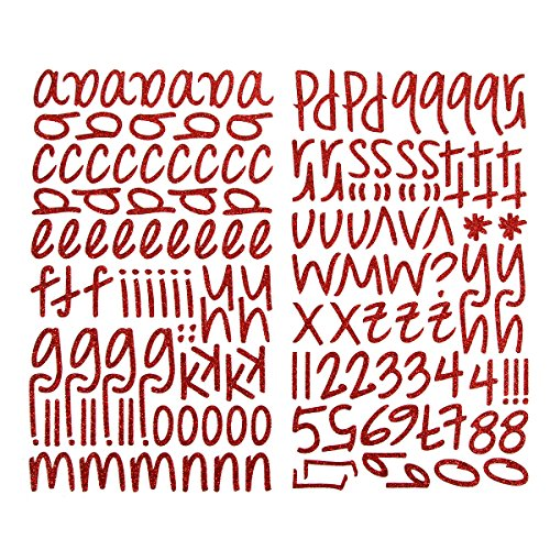 Darice 1219-55 159-Piece Glitter Alphabet Sticker, Lower Case Letters and Numbers with Script Font, Red
