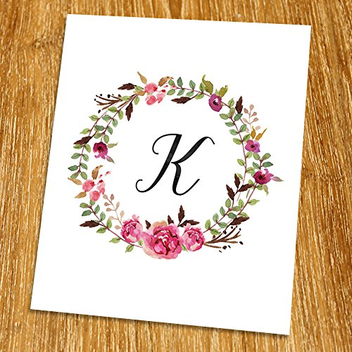 K Monogram Print (Unframed), Nursery Wall Decor, Calligraphy, Flower Letter, Floral Alphabet, Living Room Decor, Initial Print, Typography Print, Watercolor, 8x10